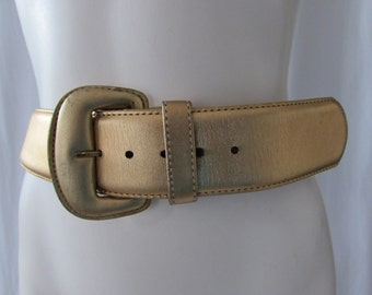 BELT Vintage Glove Leather Wide Gold  size 32 made in the USA for Nordstrom