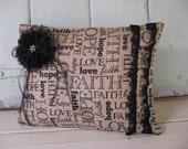 Pillow Burlap Faith Hope Love Black Print Black Lace Flower and Jewel 16x12 Home Decor