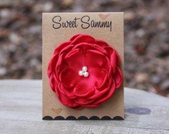 30 Colors Medium Satin Flower Pin, Red Satin Flower Pin