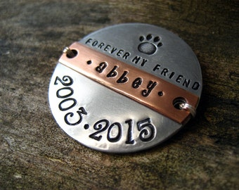 Unique Pet Memorial Magnet - Pet Lover Gift - Pet Loss Gift - Personalized Hand Stamped Gift - Aluminum - Copper - Memorial Magnet