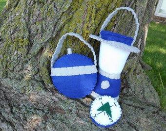 Kid's Midnight Blue Camp Set: Fire Logs Lantern Compass Canteen Smore