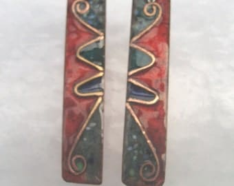 Abstract style earrings in copper, silver and enamels