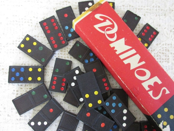 Colorful Vintage Dominoes lot, Japan dominos, Assemblage, DIY jewelry supplies, 27 black dominoes, color dots, vintage toy collector, CD7