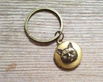 Cat Locket Key Chain, Brass Cat Locket, Feline Locket, Cat Locket Key Ring, Round Brass Locket, Antiqued Brass Plated Key Ring