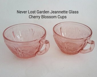 Pink Cherry Blossom Cups Jeannette Glass Vintage