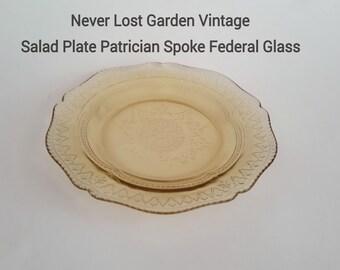 Patrician Spoke Salad Plate Federal Glass Vintage