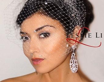 Leslie Li Zoey Style Crystal Bridal Birdcage Veil 27