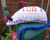 Hand Made Catnip Mouse - Seaside Beach Huts design - Cat Toy