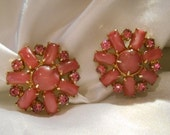Pink Moonstone and Rhinestone Round Clip Earrings