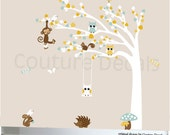 White tree wall decal, owl tree decal, nursery tree decal, tree wall decal, owl tree decal, decal owls, swinging owls decal, tree decal