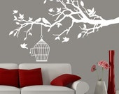 White tree branch decal with birdcage and birds, bird wall decal, decal branch, branch decals white, white branch decal