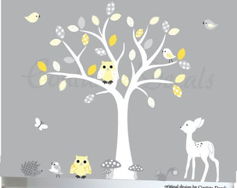 White tree decal, Fawn wall decal, hedgehog sticker decal, childrens nursery decal art, nursery wall sticker, grey and yellow