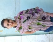 Nuno felted scarf with flowers of merino wool, Fashion Scarf, OOAK