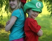 Super Mario Brothers Inspired-Child's Fleece Luigi & Mario Hats - Dress Up - Dramatic Play