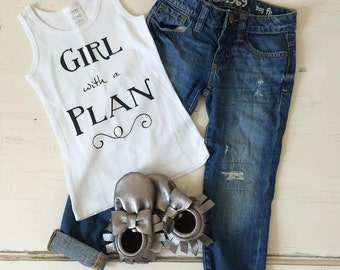 Girl with a Plan Graphic White Tank Top. Baby girl, toddler girl, little girl. Cute graphic tee for girl.