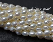 AA Loose Rice Pearls freshwater pearl Natural White Wheat pearl Beads 4.3-4.7mm 68pcs Bridal design wedding Full Strand Item No : PL6207