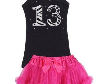 13th Birthday, Zebra Birthday Tutu Dress,13th Birthday Outfit, Black White Zebra, Glitter Thirteen, 13yrs, Hot Pink Tutu, Personalized Name