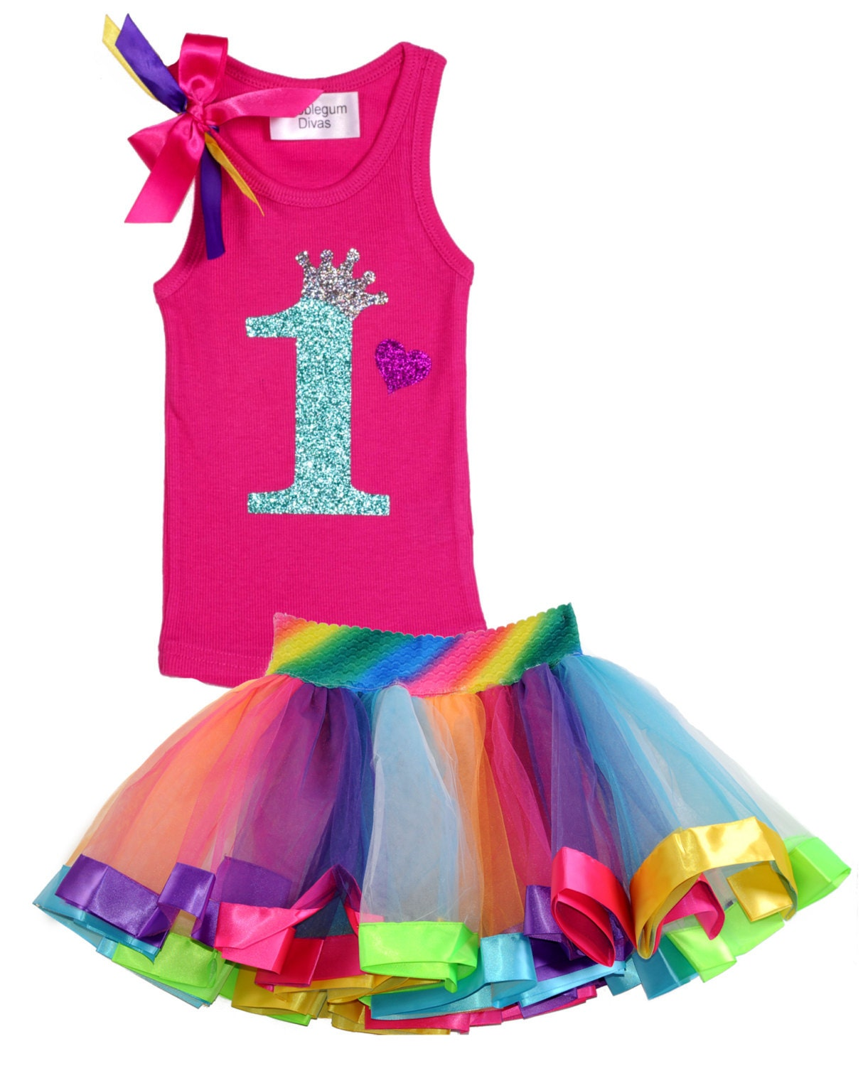 Rainbow 1st Birthday Outfit Baby Girl Princess By