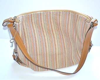 80s vintage multicolored fabric shoulder bag  satchel purse by Fossil Hobo style woven  attractive Fossil key beach vacation travel bag