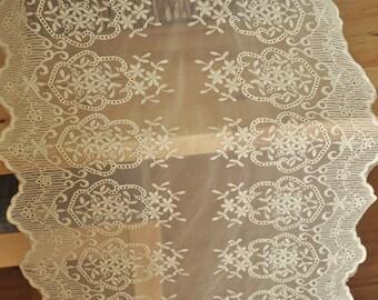 Vintage Beige Cotton Floral Lace Trim , Retro Embroidered Fabric Lace