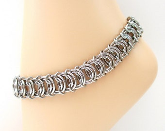 Chainmail anklet, stainless steel anklet, vertebrae weave chainmail jewelry for men or women