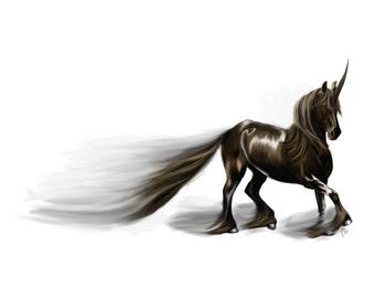 "Unicorn Art Print - Brown Horse Art - Fantasy Animal - Animal Art - Running Unicorn - 8""x10"" Art - Majestic - Kids Room - Nursery Decor"