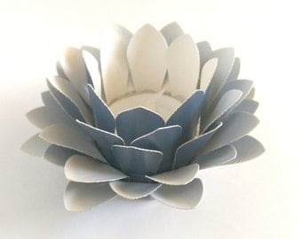 Paper Flower - Handmade Paper Lotus - Flower Table Lamp  - Metallic Blue  - Waterlily - Paper Flower Decor - Tealight holder - 3d Paper Art