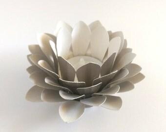 Handmade Paper Lotus - Waterlily - Tealight holder - Paper Flower Decor - Metallic pale gold - 3d Paper Art - Kids Room Decor - Paper Flower