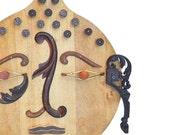 HUGE vintage cutting board, mixed media assemblage, kitchen Buddha 14, zen art, modern sculpture mask  by Elizabeth Rosen