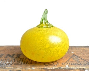 Kosta Boda art glass, pumpkin gourd art, Frutteria series signed by Gunnel Sahlin, limited edition, from Elizabeth Rosen