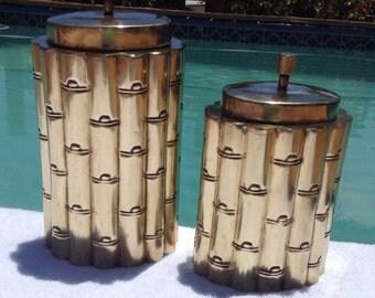Pair vintage brass bamboo canisters HOLLYWOOD regency coffee tea lidded jars