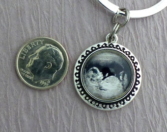 Ultrasound Necklace, Sonogram Necklace, Ultrasound Charm Keychain or Pendant, Pregnancy Reveal, Baby Memorial, New Mom Dad, Fathers Day