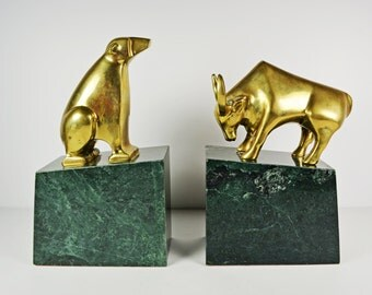 Bull & Bear Brass and Marble Vintage Bookends....Stock Broker Office Decor