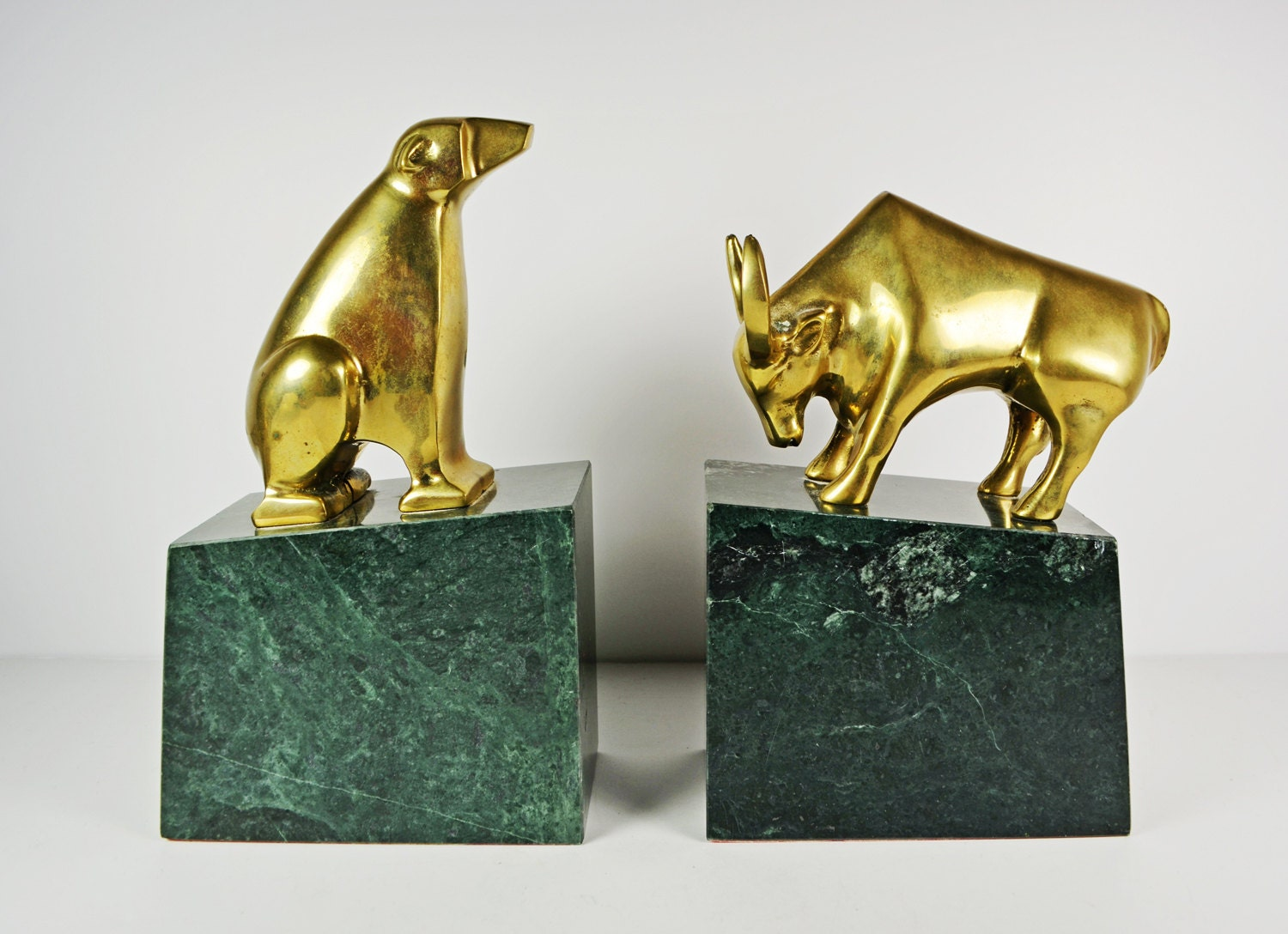 Bookends Bull And Bear Brass With Marble Vintage Stock