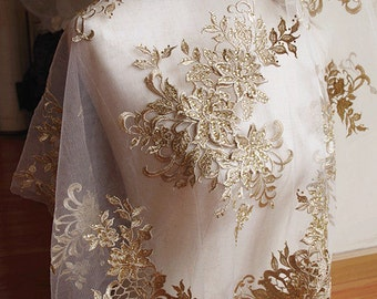 metallic Gold lace fabric with 3D flowers, 3D floral lace with rhinestone beads, super luxury