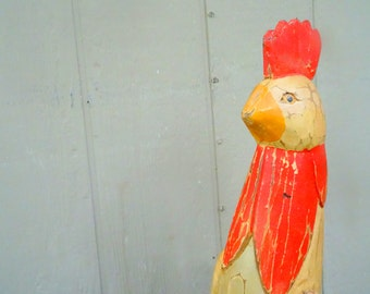 Vintage wooden rooster chicken home decor big chicken articulated