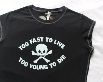 """Seditionaries - Punk T-shirt - Too Fast to Live too Young to Die - Westwood - Skull and Crossbones - Fitted - M38""""-L40"""""""