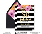 50 & FABULOUS BIRTHDAY INVITATION Black and White Stripe Gold Glitter Modern Watercolor Flower Free Priority Shipping or DiY Printable- Mady