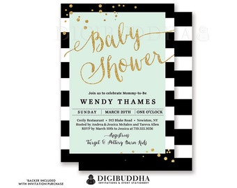 BLACK & WHITE STRIPE Baby Shower Invitation Mint Green Modern Gold Glitter Whimsical Gender Neutral Free Shipping or DiY Printable - Wendy