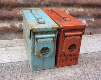 Set of 2 Heavily Distressed Metal Bins with Locking Lids Industrial Storage Salvage Ammo Box Style Ammunition Blue Orange Vintage Metal vtg