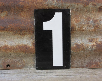 Number Sign Metal Vintage 1 or Number 2 Double Sided Small 7 1/4 x 4 1/4 Inches One Two White Black vtg Gas Price Sign Service Station