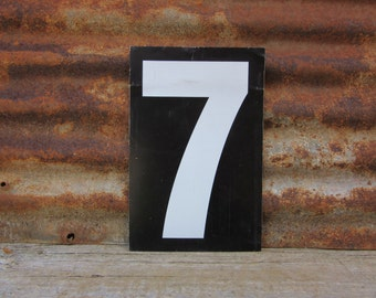 Number Sign Metal Vintage 7 or Number 8 Double Sided Large 11 1/2 x 7 1/2  Inches Seven Eight White Black vtg Gas Price Sign Service Station