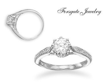 Sterling Silver Rhodium Plated Solitaire CZ BRIDAL Wedding Engagement Ring - SIZES  4 5 6 7 8 9 10 11
