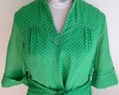 Vintage 1970s Green and White Polka Dot Shirtdress Dress by Johnnye J Med Large