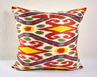 Ikat Pillow, Hand Woven Ikat Pillow Cover  A530-1aa3, Ikat throw pillows, Designer pillows, Decorative pillows, Accent pillows