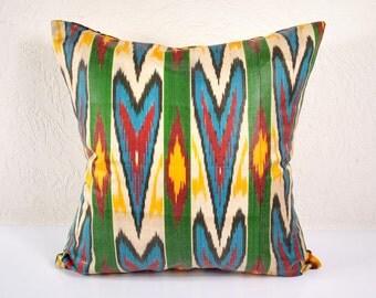 Ikat Pillow, Hand Woven Ikat Pillow Cover  A487-1aa3, Ikat throw pillows, Designer pillows, Decorative pillows, Accent pillows