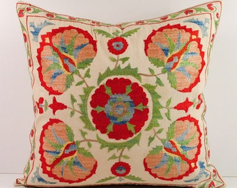 Hand Embroidered Uzbek Suzani Pillow Cover msp11-14