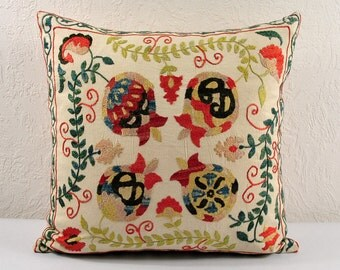 Hand Embroidered Uzbek Suzani Pillow Cover MSP102-7