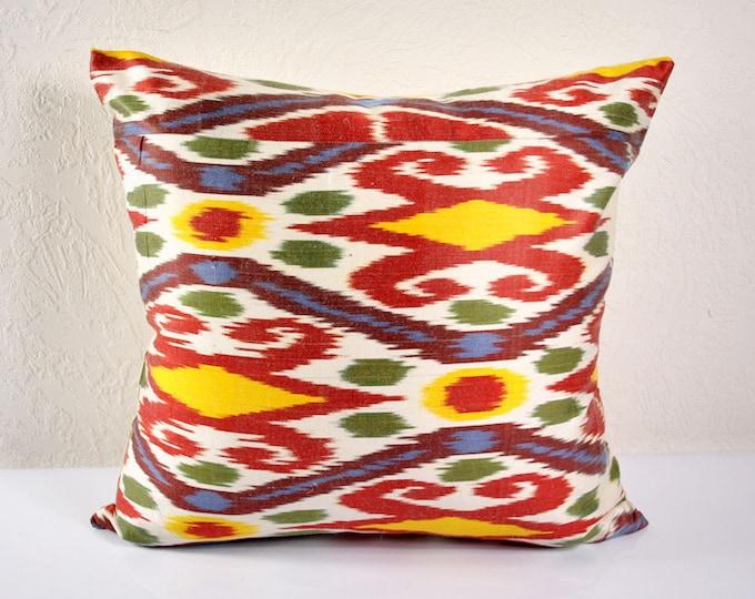 Ikat Pillow, Hand Woven Ikat Pillow Cover  A530-1aa3, Ikat throw pillows, Designer pillows, Decorative pillows, Accent pillows