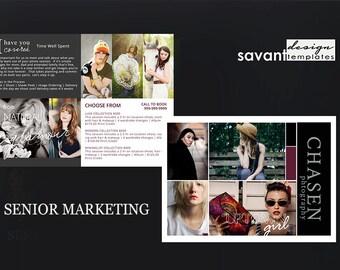 Photography Marketing Template Senior, Photoshop Template for Photographers, Photography Template Senior - Flyer Postcard Newsletter